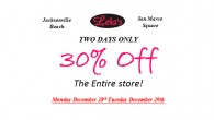 Save the date! Hugh sale at Leila's. 30% off the entire store! Monday December 28th and Tuesday December 29th.