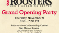 Join Roosters for an open house as they celebrate their grand opening. Meet their barbers and stylists, enjoy light snacks, beer and wine and learn what makes Rooster's different from other barbershops.
